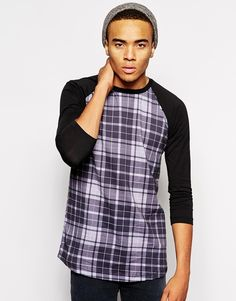 Abandon Ship Longline Baseball T-Shirt In Tartan