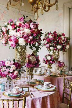 ideas for wedding table blue pink flower arrangements Pink Wedding Receptions, Reception Decorations, Wedding Centerpieces, Wedding Themes, Reception Ideas, Table Decorations, Wedding Mandap, Reception Food, Tall Centerpiece