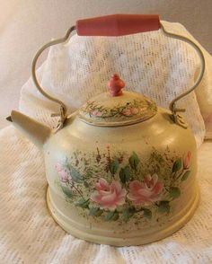 Tea kettle metal hand painted with roses and soft pinks and greens for display only vintage MUST SEE Vintage Shabby Chic, Vintage Tea, Shabby Chic Decor, Milk Cans, Flower Market, Chocolate Pots, Tole Painting, Tea Set, My Cup Of Tea