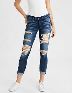 AE Ne(X)t Level Jegging Crop Ne(X)t Level stretch. Your jeans have never fit or felt better. Cute Ripped Jeans, Ripped Jeans Outfit, Ripped Jeggings, Denim Pants, Plus Size Jeans, Jean Outfits, Fashion Outfits, Fashion Tips, Fashion Trends