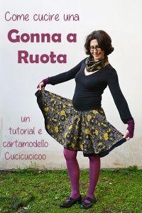 Come cucire una gonna a ruota ad uno o due strati. Cartamodello gratuito! www.cucicucicoo.com