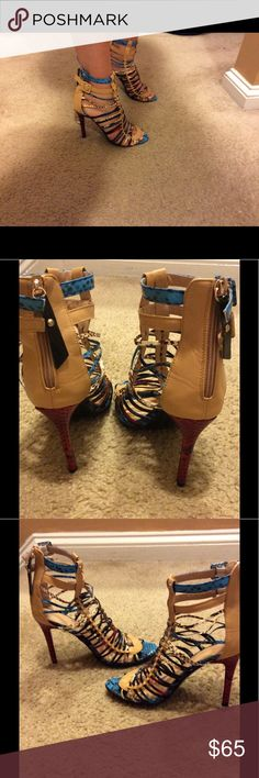 "New Multicolor High Heel scrappy sandals Brand new  strappy multi color high heel sandals. Zipper on the back. Heels 4"" high. Size 8 . These Very cool shoes could be worn with skinny jeans, mini dress or skirt , ankle pants ...from day time wear to night out ! shoepie Shoes Heels"