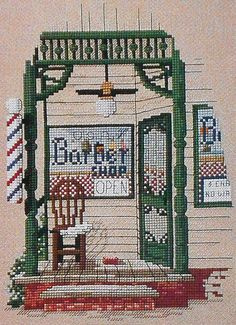 Suzanne Berry Main Street USA Series BARBERSHOP - Counted Cross Stitch Pattern Chart - Leisure Arts. $4.75, via Etsy.