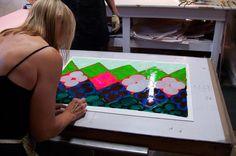 Judy Ledgerwood creating a monotype at Manneken Press, September 2014.