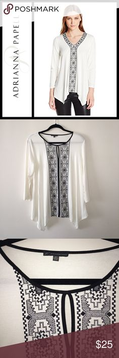 Adrianna Papell 3/4 Sleeve Embroidered top Perfect, like new condition - worn one time:. Asymmetrical hem, black embroidery - keyhole neck a super flattering! Size medium Adrianna Papell Tops