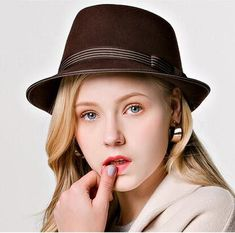 ba73ff61082 Striped bow fedora hat for women wool pork pie hats autumn wear