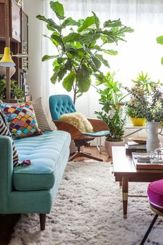 bright, boho living room with vintage inspired furniture