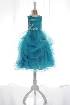 A-line sleeveless organza dress for flower girl