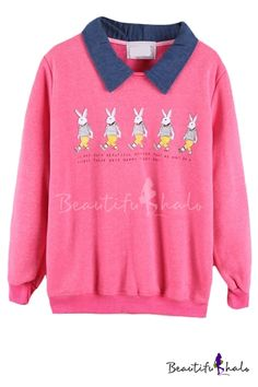 Cozy Rabbit Pattern Contrast Collar Long Sleeve Top