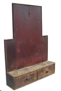 19th century very unusual New England hanging Wall Shelf, pine, dovetailed and cut nail construction, a single shelf with two dovetailed drawers, retaining its original dry red paint, in a desirable, grungy surface. Primitive Shelves, Primitive Cabinets, Primitive Furniture, Primitive Antiques, Country Furniture, Early American Furniture, Country Treasures, Old Crates, Primitive Gatherings