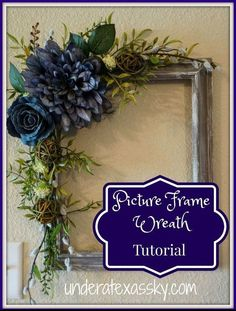 picture frame wreath dry brush painted frame, crafts, repurposing upcycling, wreaths About 15 DIY Picture Frame Home Decor Ideas Pin You can easily us Picture Frame Wreath, Picture Frame Crafts, Decorate Picture Frames, Photo Wreath, Christmas Picture Frames, Flower Picture Frames, Rustic Lanterns, Deco Floral, Wreath Tutorial