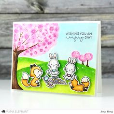 Handcrafted Cards Made With Love: Picnic with Friends -  Mama Elephant Stamp Highlig...