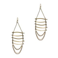 Love this! Found it on Katies Boutique Climb the ladder of fashion success with these chandelier earrings. Brass tubes and chains dangle from a French wire. #winKitsyLane