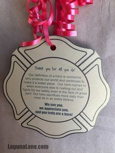 Create a firefighter appreciation gift with free printable gift tags to take to your local fire station - it's an easy and kid-friendly service project! Appreciation Cards, Volunteer Appreciation, Volunteer Gifts, Blessing Bags, Firefighter Gifts, Firefighter Quotes, Free Printable Gift Tags, Daisy Girl, Girl Scouts