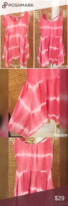 Staccato shark bite hem back detail tie dye tunic Adjustable straps with criss cross back pretty pink tie dye tank with asymmetric hemline Tops Tank Tops
