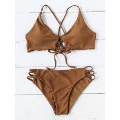 SheIn(sheinside) Ladder Cutout Tie Back Bikini Set (26 BRL) ❤ liked on Polyvore featuring swimwear, bikinis, coffee, bikini swimwear, triangle bikinis, bikini two piece, cut-out swimwear and cutout swimwear