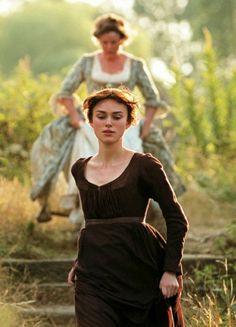 ♔ Brenda Blethyn as Mrs. Bennet and Keira Knightley as Elizabeth Bennet in Pride and Prejudice (2005).