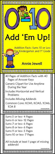Addition Worksheets for Kindergarten and 1st Grade. Sums 10 or less. 40 pages of worksheets. Great for morning work or homework. Improve math fluency! COMMON CORE: KOA1, KOA5, 1OA6, 1OA8.