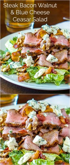 Steak Bacon Walnut Blue Cheese Caesar Salad – substitute your favourite ingredients for a bold collision of flavours and textures in an outstanding dinner salad that's a complete meal in itself.