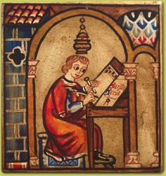 * In the Scriptorium. Medieval Manuscript, Illuminated Manuscript, Medieval Castle, Medieval Art, Fresco, Medieval Furniture, High Middle Ages, Masonic Symbols, Old Libraries