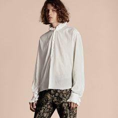 Tunikahemd aus Baumwoll-Voile mit Rüschenkragen