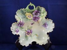 Rosenthal Hand Painted Pansies on Handled Candy Dish c. 1905, *SOLD*