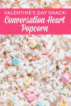 A Valentine's Day snack that's easy and delicious! Check out this recipe for conversation heart popcorn and make some today. I love this snack recipe idea because it's so simple kids can help, and everybody loves it. Perfect for class parties or even Galentine's day.