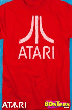 Distressed Atari Logo T-Shirt: Atari Mens T-Shirt  Video Game Geeks know this historic  game system logo with its iconic design and illustration.