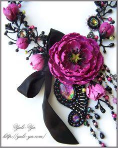 Night nymph1 - polymer clay jewellery with flowers by Yuliya Galuschak