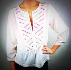 Absolutely love this new @Cynthia Vincent Peplum Blouse with a pop of color from our NEW @hankypankyltd Hot Pink Bralette