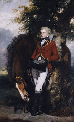 regiment captain & horse c. late 1700's by Sir Joshua Reynolds  Oil on canvas