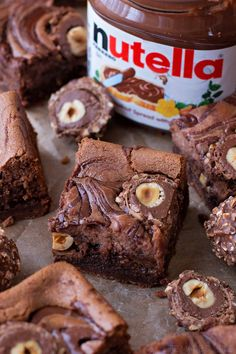 These nutella cheesecake brownies are the ultimate decadent dessert! They've got. - These nutella cheesecake brownies are the ultimate decadent dessert! They've got a rich brownie b - Brownies Au Nutella, Nutella Cheesecake, Cheesecake Brownies, Ferrero Nutella, Nutella Slice, Ferrero Rocher Cheesecake, Nutella Cookie, Simple Cheesecake, Baking Brownies
