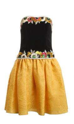 Bob Mackie Strapless Black Yellow Silk Sequin Beaded Formal Gathered Drop Waist Dress Size 6 #cher #classic