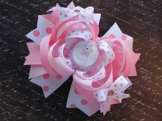 Aristocats Marie Boutique Layered Bottle Cap Hair Bow - OTT over the top - Disney Cat - Pink Polka Dot - by sweetteabowtique. $7.99, via Etsy.