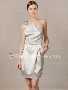One-Shoulder Beading Pleat Satin Bridesmaid Dress BR062. $105