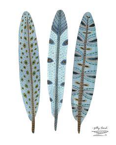 plumes bleu plumes oiseau art giclée reproduction impression aquarelle