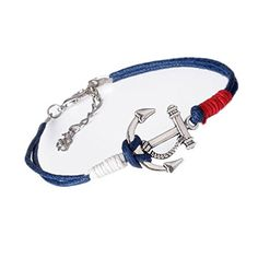 Shensee New Charm Silver Anchor Multilayer Rope Braided Bracelet Bangle Summer Jewelry *** Be sure to check out this awesome product.