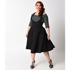 Unique Vintage Plus Size 1940s Style Black Button Maria Suspender... ($78) ❤ liked on Polyvore featuring plus size women's fashion, plus size clothing, plus size skirts, black, high waisted circle skirt, high waist skirt, high waisted swing skirt, knee length circle skirt and high waisted knee length skirt