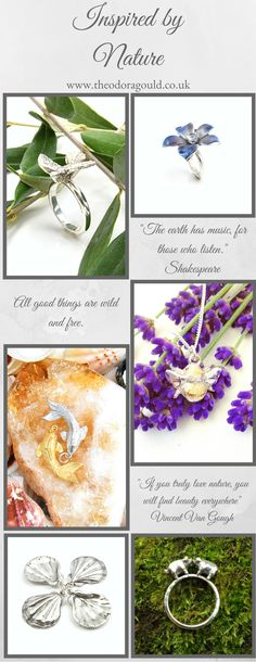 Beautiful jewellery inspired by nature.  Silver dove ring, enamel and aqua marine flower ring, silver and gold fish pendants, bumble bee pendant, large silver sea shells and silver kissy pigs.