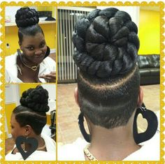 Braided bun/ tapered back Ponytail Styles, Updo Styles, Mohawk Ponytail, Black Girls Hairstyles, Braided Hairstyles, Natural Hair Styles, Short Hair Styles, Shaved Hair Designs, Hair Due