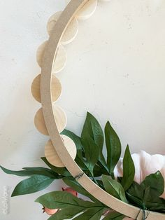 DIY Wood Bead Floral Wreath - Lolly Jane How exactly to Get the Bride Arrangement Wreath Crafts, Diy Wreath, Wood Wreath, Baby Mobile, Wreath Forms, Beaded Garland, Diy Holz, Craft Night, Faux Flowers