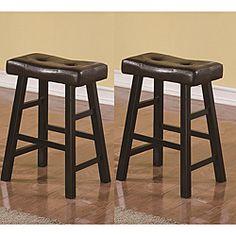 saddle black brown 24inch biecast leather bar stools set of 2