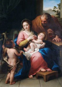 The Holy Family with the Infant Saint John / La Sagrada Familia con el Niño san Juan // 1765 // Anton Raphael Mengs // English Heritage, The Wellington Collection, Apsley House // Catholic Art, Catholic Saints, Religious Art, Virgin Mary Art, Family Painting, Mama Mary, Blessed Mother Mary, Mary And Jesus, Virgin Mary