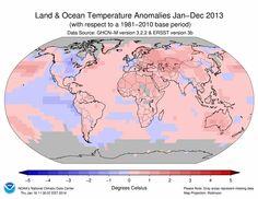 Global temperature anomalies 2013
