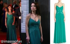 I'm a Soap Fan: Elizabeth Webber's Blue-Green Lace-Trimmed Pleated Gown - General Hospital, Season 53, Episode 183, 12/21/15, Rebecca Herbst, #GH Fashion, Wardrobe Worn on #GeneralHospital #NutcrackerBall #BCBG