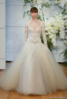 monique lhuillier spring 2018 bridal long sleeves halter v neck heavily embellished lace bodice tulle skirt ivory color princess ball gown covered lace back chapel (marguerite) mv -- Monique Lhuillier Spring 2018 Wedding Dresses