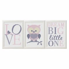 Baby girl cross stitch pattern pdf Owl nursery art animals set of 3 Dream Big Little One Modern Cross stitch Animals Pattern Birds diy gift