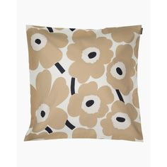 Made from a cotton, this cushion cover features the off white, beige and dark blue Pieni Unikko pattern. Marimekko's famous poppy pattern Unikko was born in 1964 in a time when the design house's collections featured mostly abstract prints. Marimekko, Poppy Pattern, Dark Blue Color, White Beige, Poppies, Designer, Floral Prints, Cushions, House Design