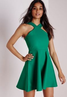 d6745fce08 Crepe Cross Front Skater Dress Green Fit And Flare