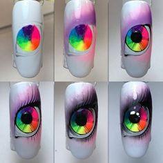 super ideas for nails unicorn pigment Neon Nail Designs, Nail Art Designs Videos, Nails Design, Trendy Nails, Cute Nails, Water Nail Art, Jolie Nail Art, Crazy Nail Art, Colorful Nail Art